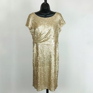 Adrianna Papell Size 8 Gold Sheath Sequin Dress